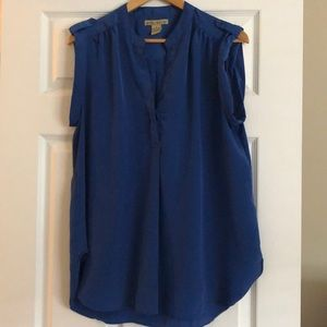 Blue Blouse With Buttons On The Sleeves And V-Neck